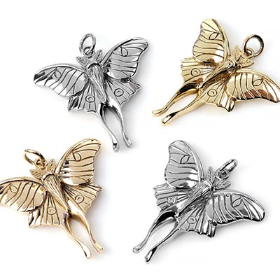 Silver Luna Moth Pendant