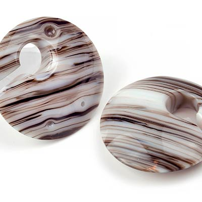 Bronze Ivory Striped Glass Eclipse Weights