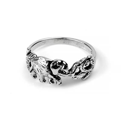 Silver Jungle Elephant Ring