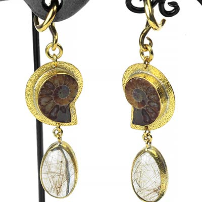 Solid Brass, Ammonite and Rutilated Quartz Dangle Weights
