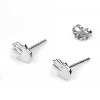 Silver Hamsa Stud Earrings