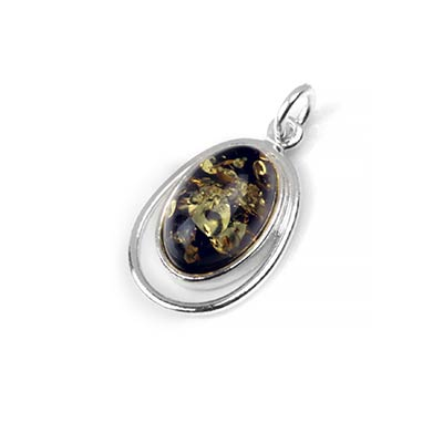 Silver and Green Amber Echo Pendant