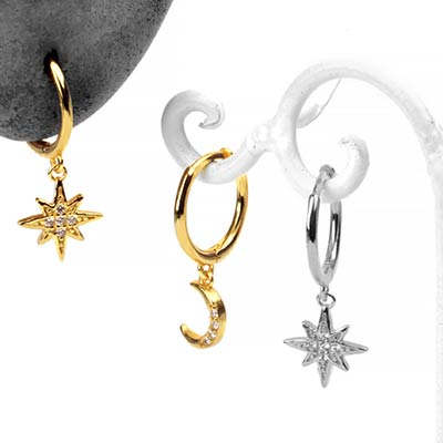 Huggie Earring with Moon and Star Dangle