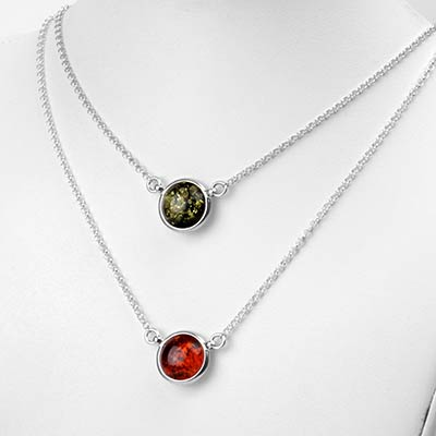 Silver and Amber Round Necklace