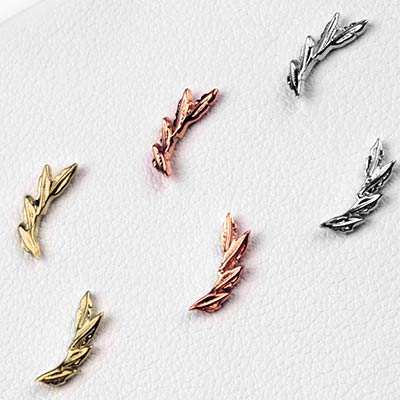 14K Gold Laurel Threadless Ends