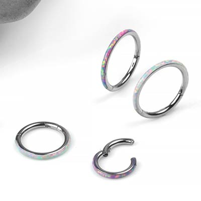 Titanium Clicker With Side Facing Synthetic Opal Inlay