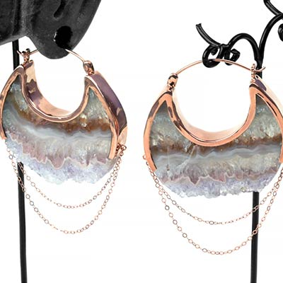 Rose Gold Moonstruck Earrings with Agate Druzy