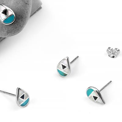 Silver and Turquoise Triquetra Teardrop Stud Earrings