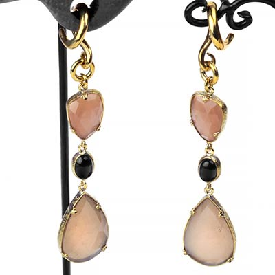 Solid Brass Peach Moonstone Dangle Weights