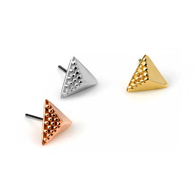 Solid 14k Gold CVGB Triangle Threadless End