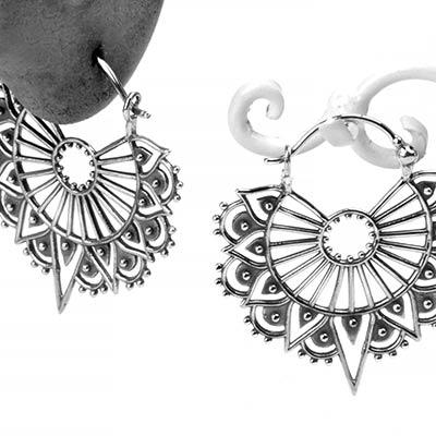 Silver Art Deco Lace Earrings