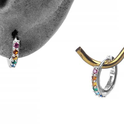 Silver and Rainbow Gem Huggie Earring