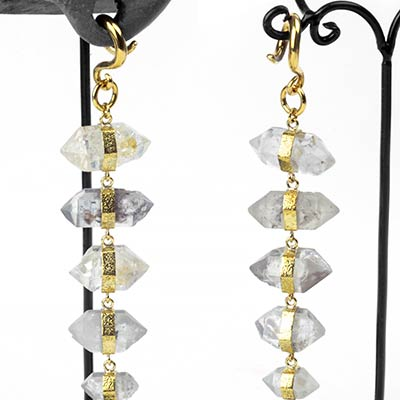 Solid Brass and Tibetan 5-Crystal Dangle Weights