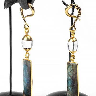 Faceted Labradorite and Clear Quartz Brass Weights