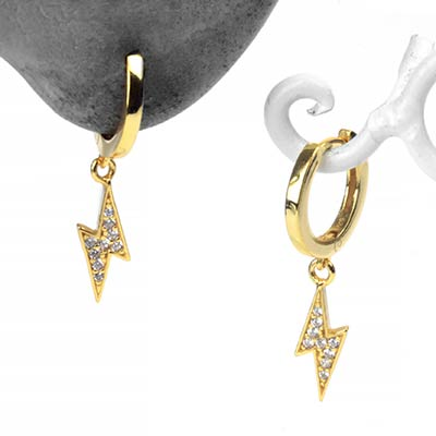 Golden Lightning Bolt Huggie Earring