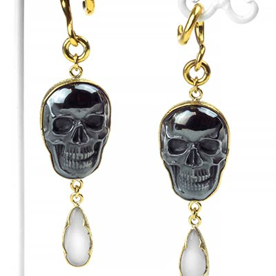 Solid Brass and Hematite Skull Weights with Moonstone