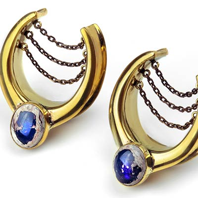 Brass Teardrop Saddles with Chains and Matrix Opal