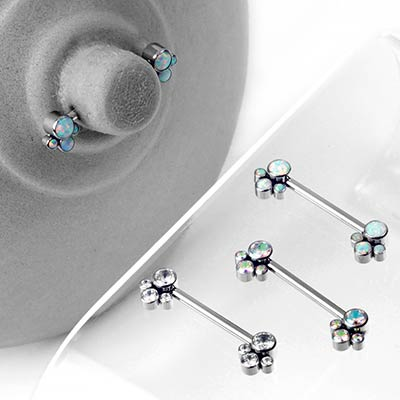 Titanium Nipple Barbells With Cluster Beads