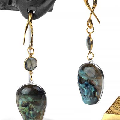 Solid Brass Dangle Weights with Labradorite Skulls