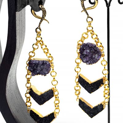 Solid Brass Chevron Weights with Amethyst Druzy