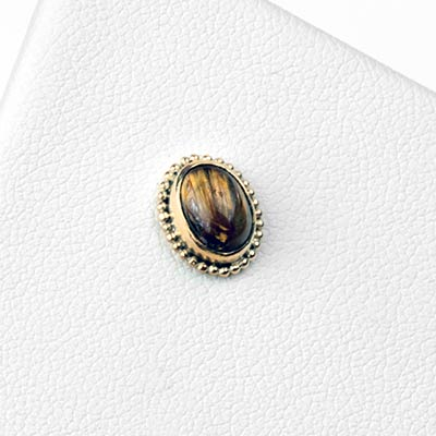 14k Gold Oval Threadless End with Rutilated Quartz