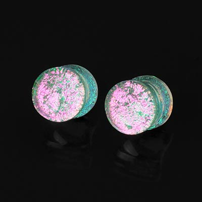 Glass Silver and Pink Trichroic Plugs