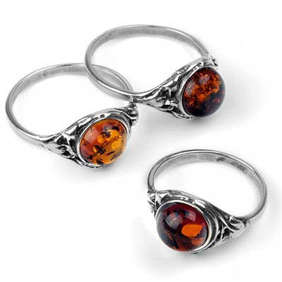 Silver and Amber Mystic Ring