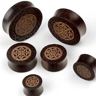 Dark Tamarind Wood Lace Plugs