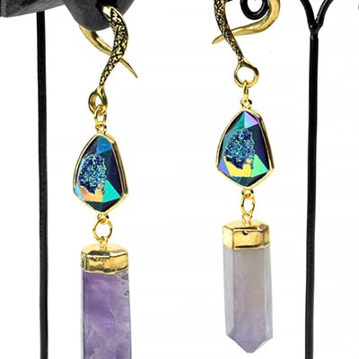 Solid Brass Dangle Weights with Amethyst and Titanium Druzy