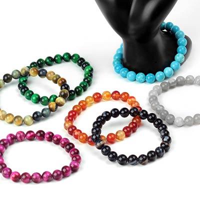 Stone and Glass Bead Bracelets