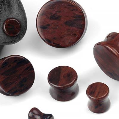 Double Flare Mahogany Obsidian Plugs