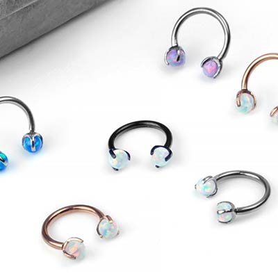 Steel and Prong Set Opal Circular Barbell