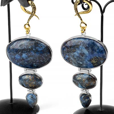 Brass Dangle Weights with Triple Sodalite