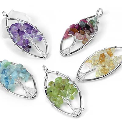 Stone Chip Tree of Life Marquise Pendants