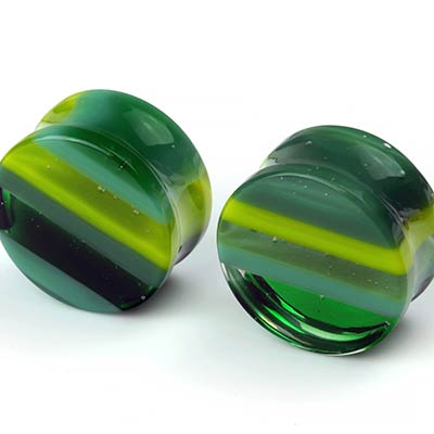 Linear Glass Plugs | Green, Lime, and Seafoam