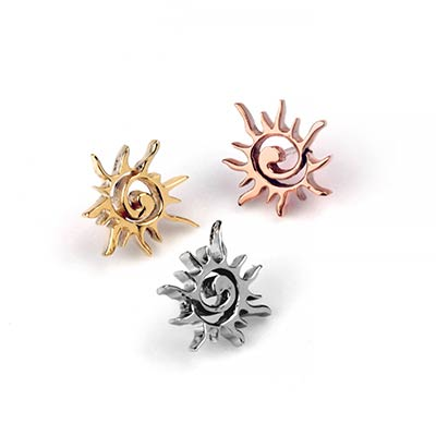 14K Gold Spiral Sun Threadless Ends