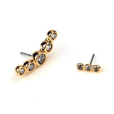 14k Gold Bezel Set Cluster Threadless Ends