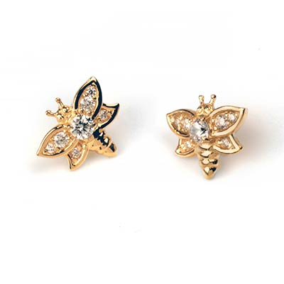 14k Gemmed Bee Threadless End