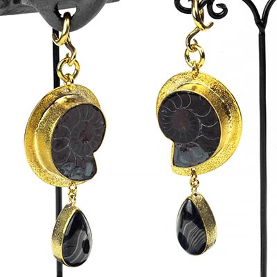 Solid Brass and Ammonite Dangles with Psilomelane