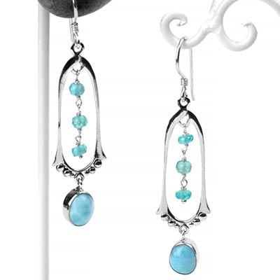 Silver Larimar and Aquamarine Dangle Earrings