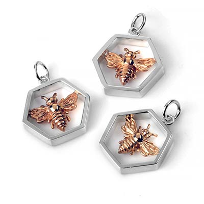 Hollow Hexagon Honeybee Pendant