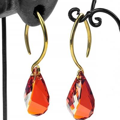 Red Swarovski Drop Crystal with Brass Hooks
