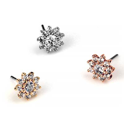 Solid 14k Gold Eloise and CZ Threadless End