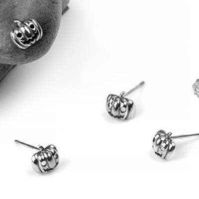 Silver Jack-O-Lantern Stud Earrings