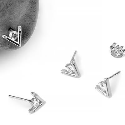 Silver Gemmed Point Stud Earrings