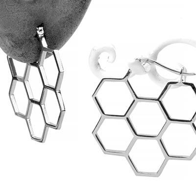 Silver Honeycomb Hoop Earrings