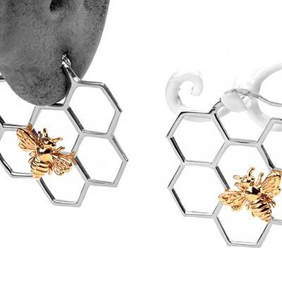 Silver and Bronze Royal Honeycomb Hoop Earrings