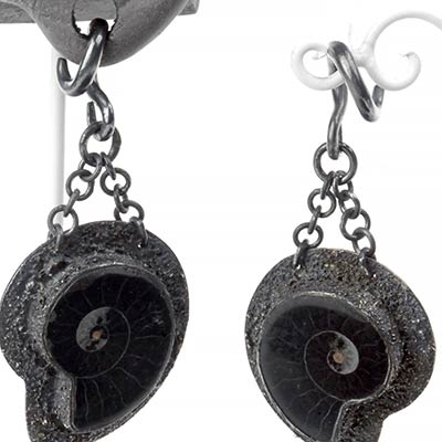 Oxidized Silver and Black Ammonite Fossil Weights