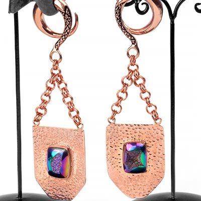 Rose Gold Plated Blade Weights with Titanium Druzy