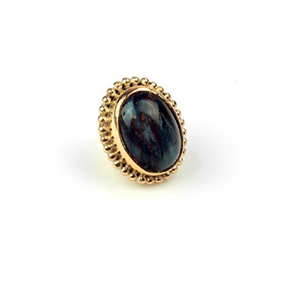 14k Gold Oval Threadless End with Pietersite